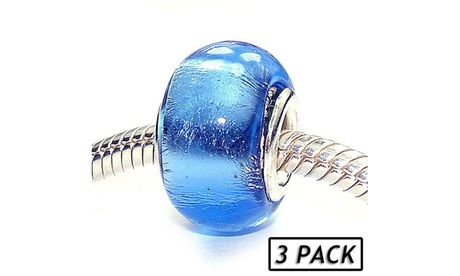 Silver Plated 'Foiled Again' Coastal Collection Glass Beads (Set of 3) 87784677-9525-493c-a4b1-4c14abb4b6f4