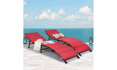 Costway Patio Chaise Lounge Folding Rattan Lounge Chair Outdoor Couch Bed