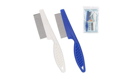 2 Pack Blue & White Pet Dog Hair Flea Stainless Pin Cat Comb 40a98a34-8590-4630-add4-aba0c4024d1e