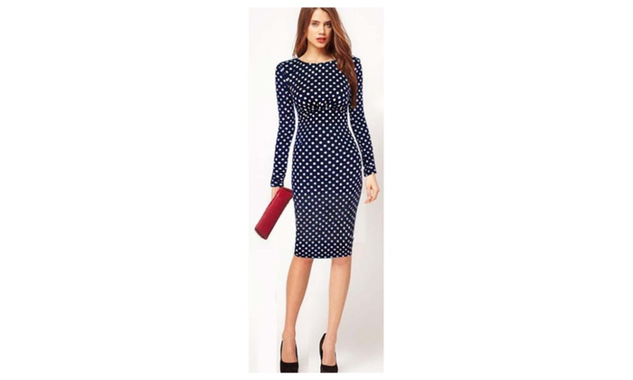 Women's Long Sleeves Skin Tight Polka Doted Dress Navy Blue-UWD185