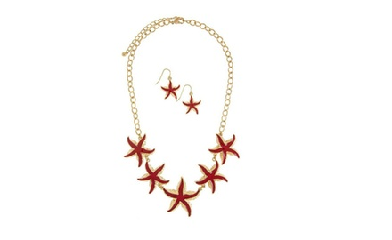 Red Starfish Necklace Set