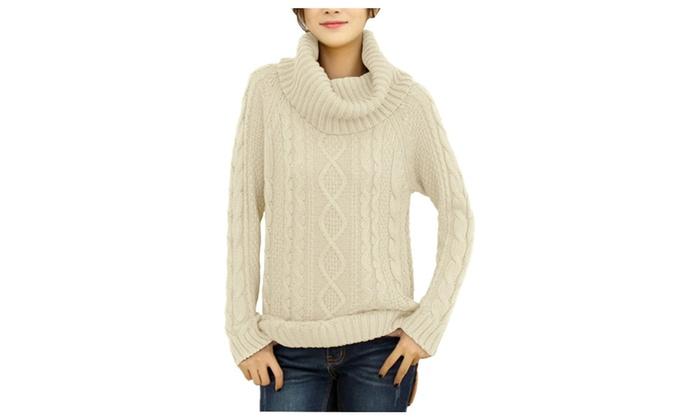 Shefetch Women's Turtle Cowl Neck Knit Long Sweater