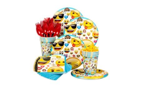 Emoji Deluxe Birthday Party Tableware Kit (Serves 8) 9d00b78d-7644-4e2f-aa0b-2f740aad4b3e