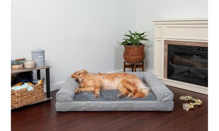 FurHaven Plush & Suede Cooling Gel Memory Foam Sofa Dog Bed Pet Bed Cat Bed