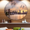 New York City Skyline under Dark Clouds' Ultra Glossy Cityscape Circle Wall Art