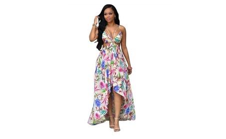 Women Sexy Summer Dress Sleeveless Anomaly Floral Dress Beach Dress af841dd6-407a-4fee-9da0-e6b697921e60