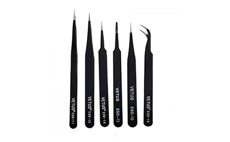 6Pcs Anti-Static Different Size Vetus ESD Tweezers ESD10 to ESD15 06e7216a-ce3e-43ab-92d0-0398afac7efd