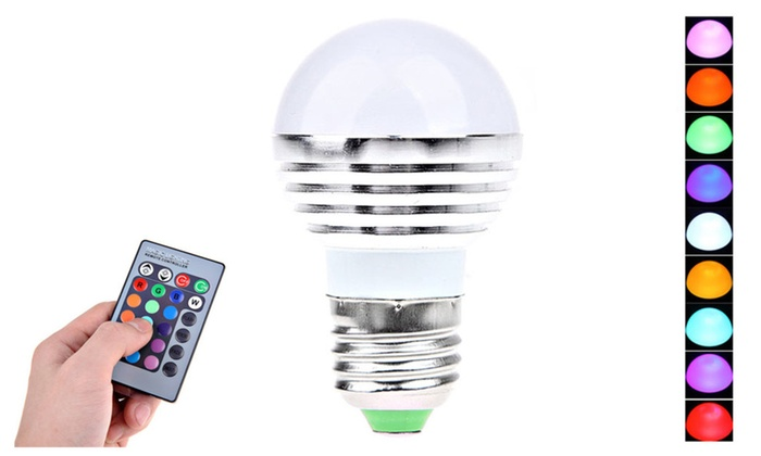 LED RGB Light Bulb with Remote Control - 2 pack