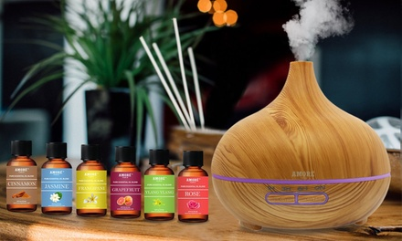 Ultrasonic Aromatherapy Oil Diffuser with Essential Oils Set (7-Pack)