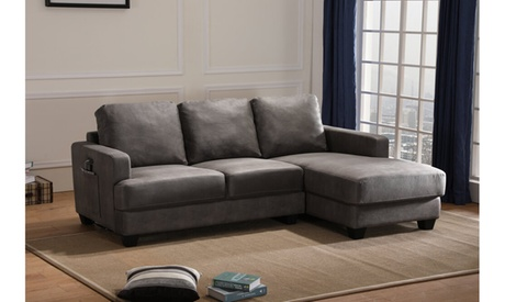 Meda Gray Microfiber Sectional Sofa Chaise with USB Charger and Tablet Pocket
