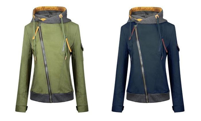 WealFeel Diagonal Zip Up Front Hood Jacket