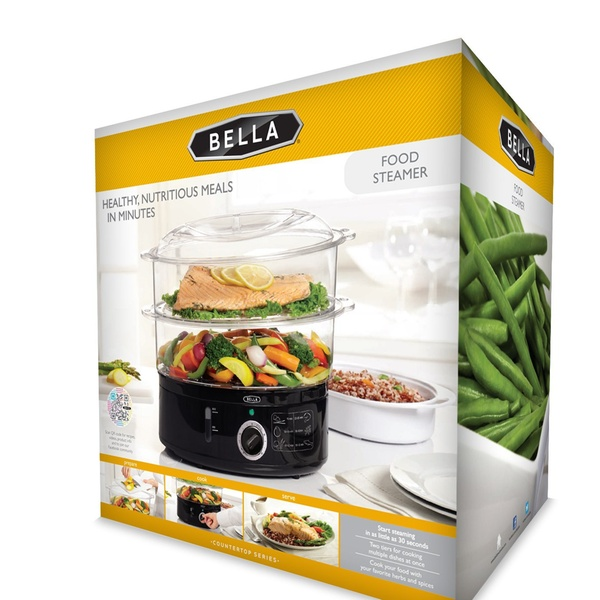 13872 BELLA 7.4 Quart 2-Tier Stackable Baskets Healthy Food Steamer with Rice