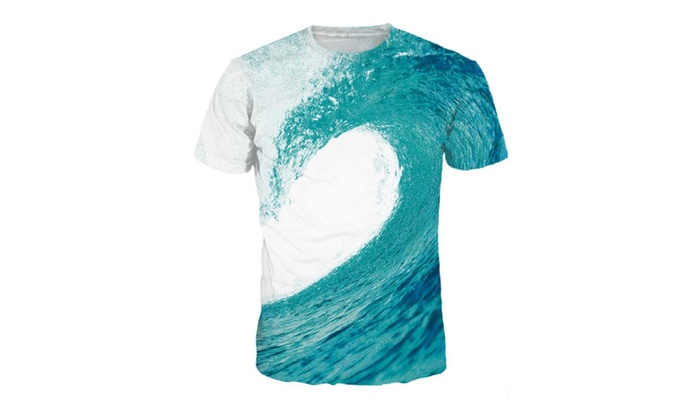 4PING Men's Waves of Tide Digital Printing T-shirt Sports Short Tees