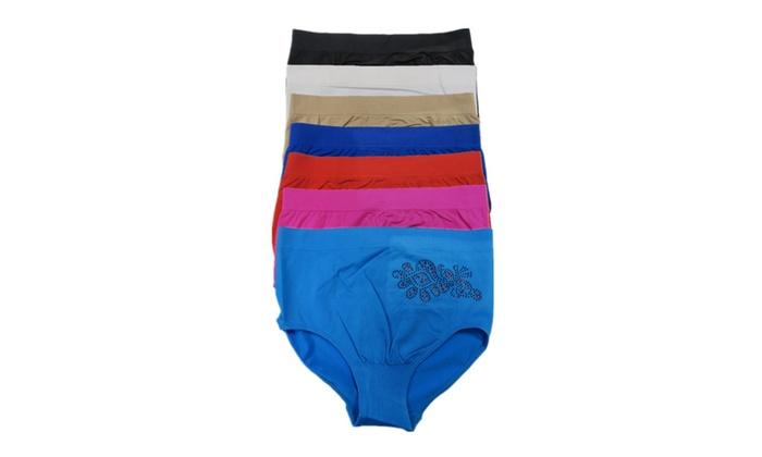 Women 6 Pack Rhinestone Solid Color Missy Briefs Bikinis Panties
