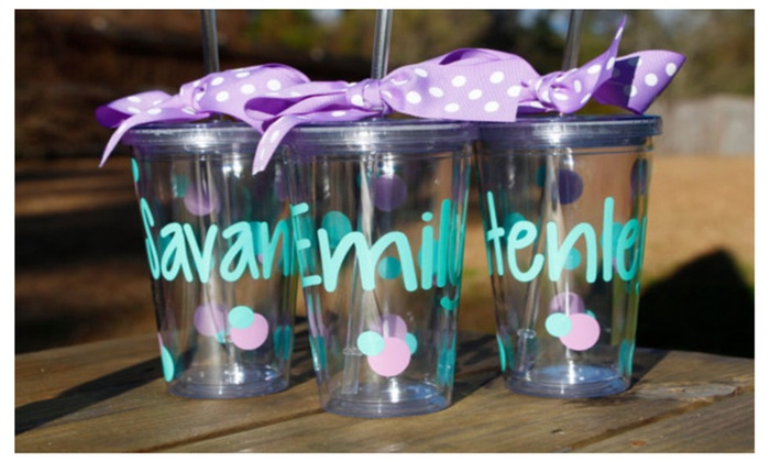 personalized tumbler 16 oz cup with lid and straw groupon