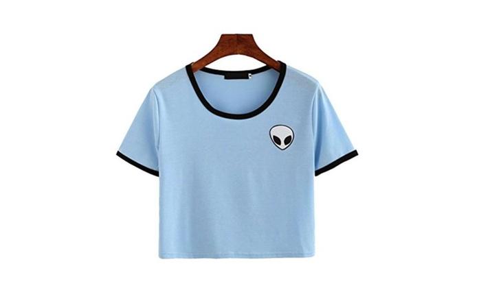 Women Hipster Blue Aliens Print T Shirt Funny Casual Tops Tee Shirt