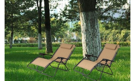 2 Pack Folding Patio Adjustable Reclining Zero Gravity Lounge Chairs 3 Colors
