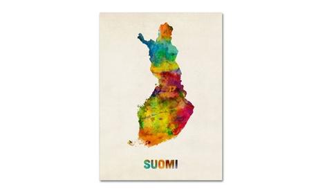 Michael Tompsett 'Finland Watercolor Map (Suomi)' Canvas Art 9a2566cc-d249-450a-a475-7101556cd637