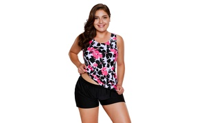 5138ee5f41 Women's Red Black/Blue Coral Floral Print Tankini And Short Swimsuit