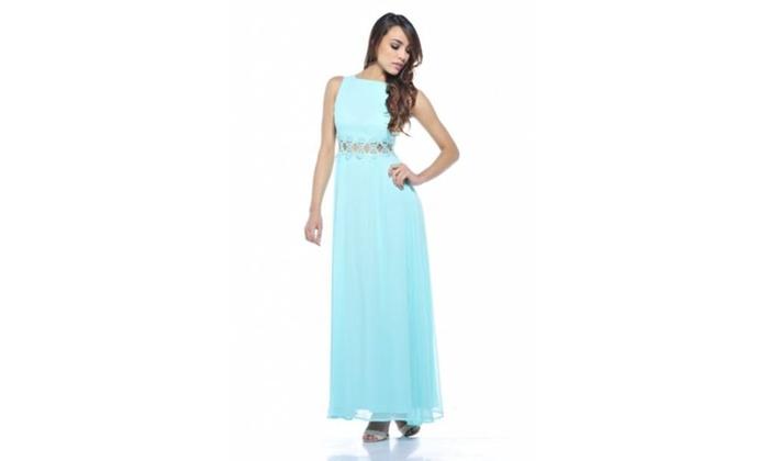 AX Paris Chiffon Embellished Waist Maxi  Dress