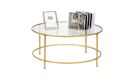 Modern Round 2 Layers Coffee Accent Table Living Room