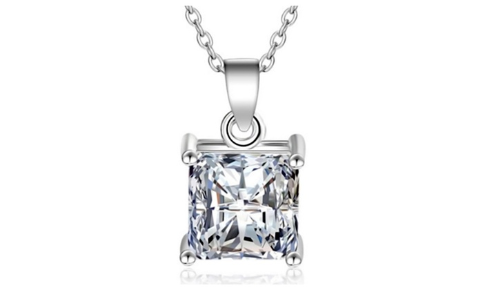 18k white gold overlay sterling princess diamond pendant necklace 18k white gold overlay sterling princess diamond pendant necklace aloadofball Images