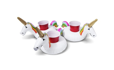 3Pack Inflatable Unicorn Floating Drink Can Bottle Cup Holder Float 78d86731-0070-45f1-8a15-fc98645cdb21