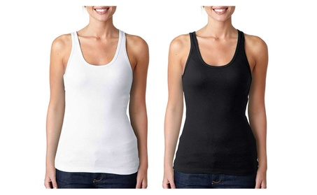 Sofra Women's Cotton Ribbed Tank Top 2 Pack bf6208ba-8eed-4fe1-a96a-2b7a5d1e1bb2