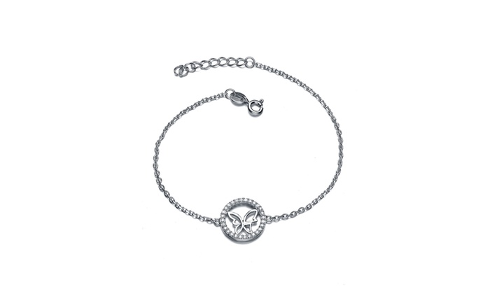 Sterling Silver Clear Cubic Zirconia Circle Frame Butterfly Bracelet ...