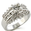 Cubic Zirconia Engagement Cradle Ring - Triple Row Clear Raised
