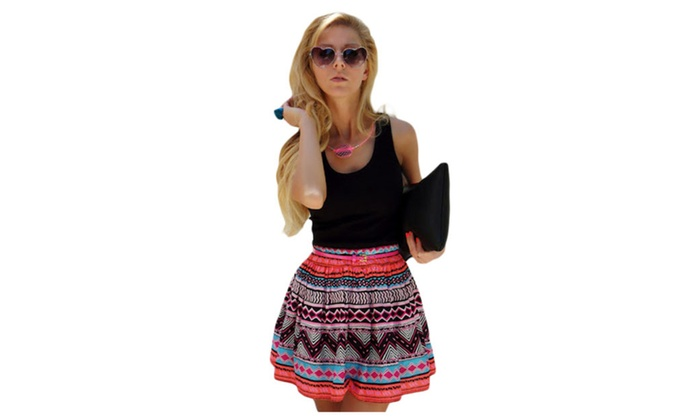 Women's Black Tank Top Tribal Print Skirt Flared Dress