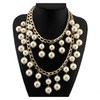 Imitation Pearls Statement Chain Collar Choker Necklace for Women