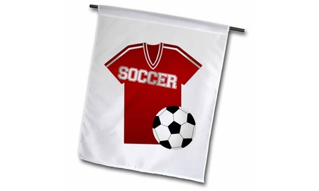 Garden Flag Red Soccer Jersey and Ball Design - 12 by 18-inches