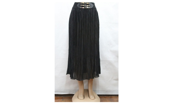 Women's Pleated Chiffon Maxi Skirt Khaki UWSK617 UWSK618