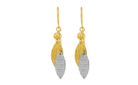 IceCarats Designer Jewelry 14K Two-Tone Textured Leaf Dangle Earrings