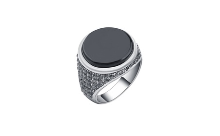 Vintage Covered Crystal Round Resin Ring for Men d10696fb-1c0f-4f5d-8dfd-ca024429f077