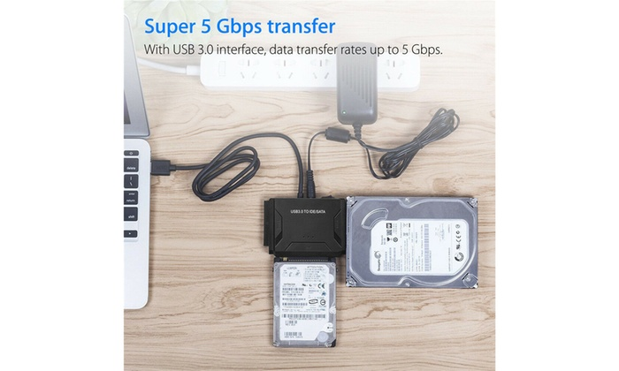 "USB 3.0 to IDE SATA Converter 2.5/"" 3.5/"" Hard Drive Data Transfer Adapter Cable"