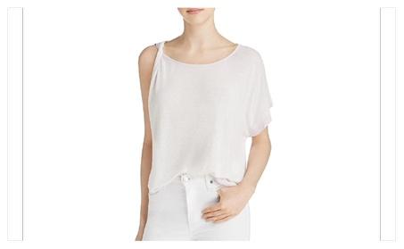 Free People Womens Pluto Lavender Linen Blend One Shoulder T-Shirt Top