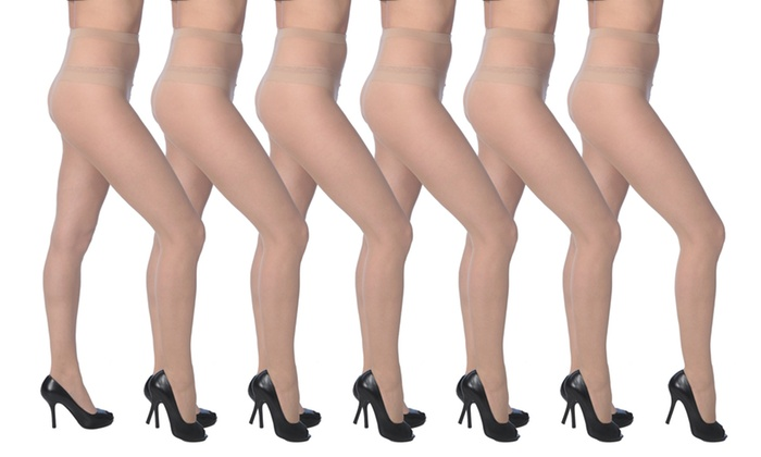 a68798f79de ... 6-Pack. Women s Sheer Anti-Static Pantyhose with Reinforced Panty   Toe  ...