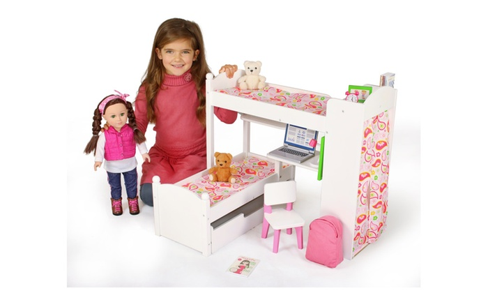 Eimmie 18 Inch Doll Bunk Beds W Trundle And Accessories Groupon
