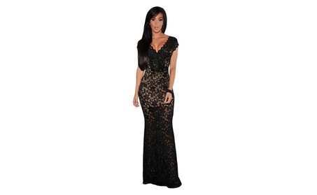Women's Black Lace Nude Illusion Low Back Evening Dress - Black / one size d22b7756-a563-437d-b4e5-f0f036cc754d