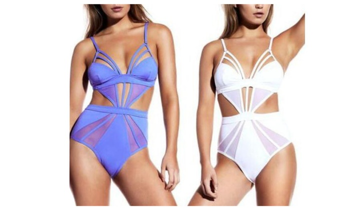 Women's Hollow Out Mesh Panel Push up One Piece Swimsuits