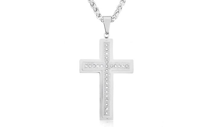 Groupon Goods: Men's Stainless Steel Double Layer Cubic Zirconia Cross Necklace