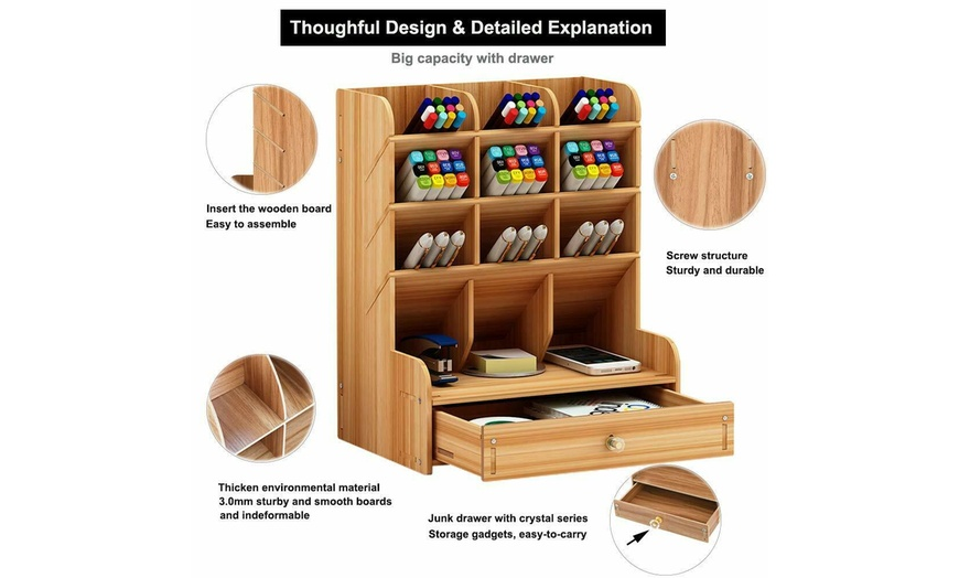 School And Home Large Capacity White For Office Diy Assembly Compartments For Pens And Stationery Desk Organizer With Drawer