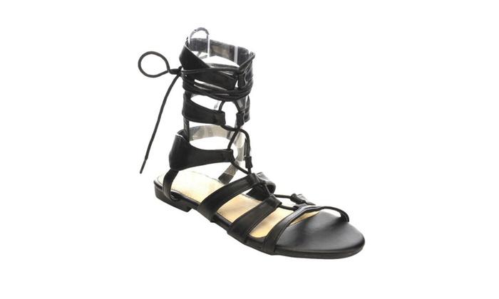 Beston  AC15 Women's Gladiator Lace Up Ankle Strap Flat Heel Sandals