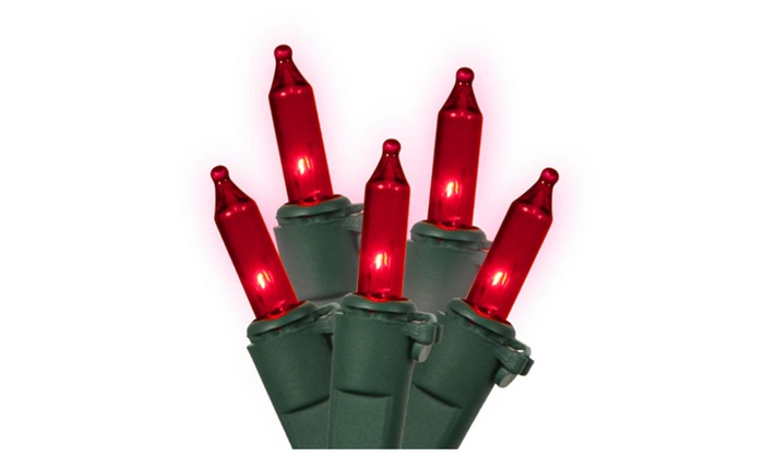 set of 100 red mini christmas lights green wire