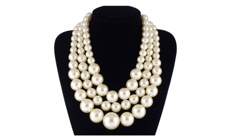 Handmade Pearls Multi Strand 3 Layer Chunky Necklace for Women 4bbc5053-cdc5-461a-9358-29bd0f2341c9