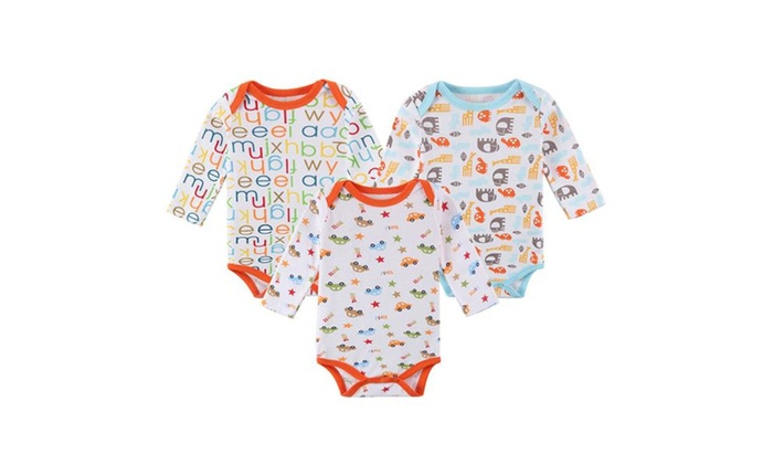 47093ba8706 Baby Boys Girls 3-Pack Long Sleeves Snap-up Rompers Bodysuits ...