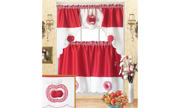 3-pc Fruit Patterns Cutwork Kitchen Curtain Tiers & Swag Set