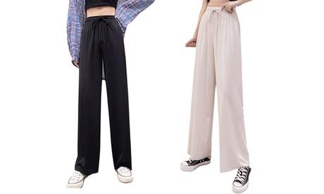 2 Pcs Women's Straight Pants Ice Silk Casual Pants Wide Leg Pant Loose Sweatpant